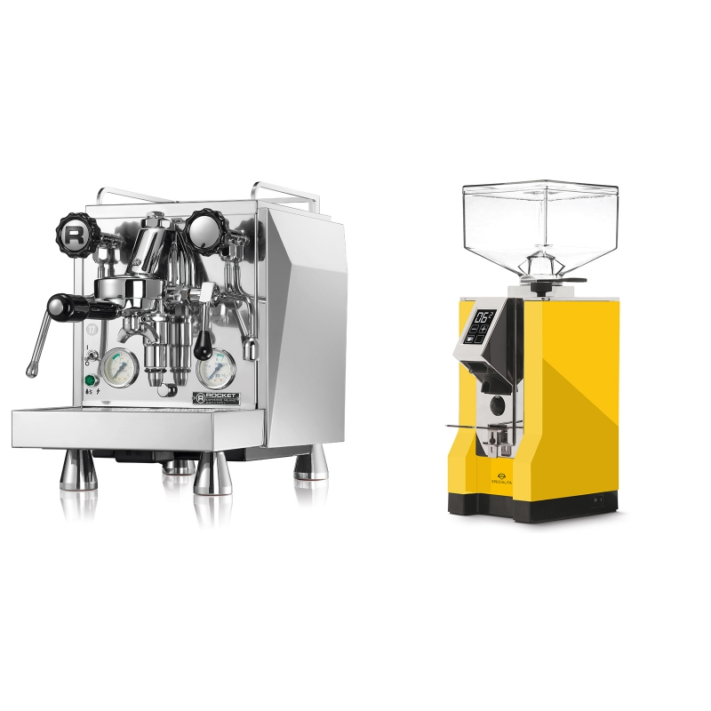 Rocket Espresso Giotto Cronometro V + Eureka Mignon Specialita, CR yellow