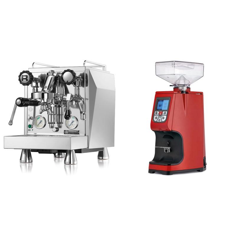Rocket Espresso Giotto Cronometro V + Eureka Atom 60, ferrari red