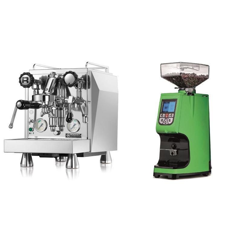 Rocket Espresso Giotto Cronometro V + Eureka Atom 60, kawasaki green