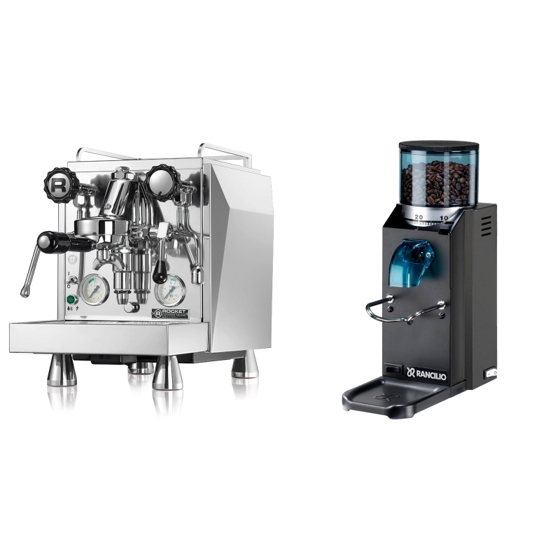 Rocket Espresso Giotto Cronometro V + Rancilio Rocky Doserless, černá