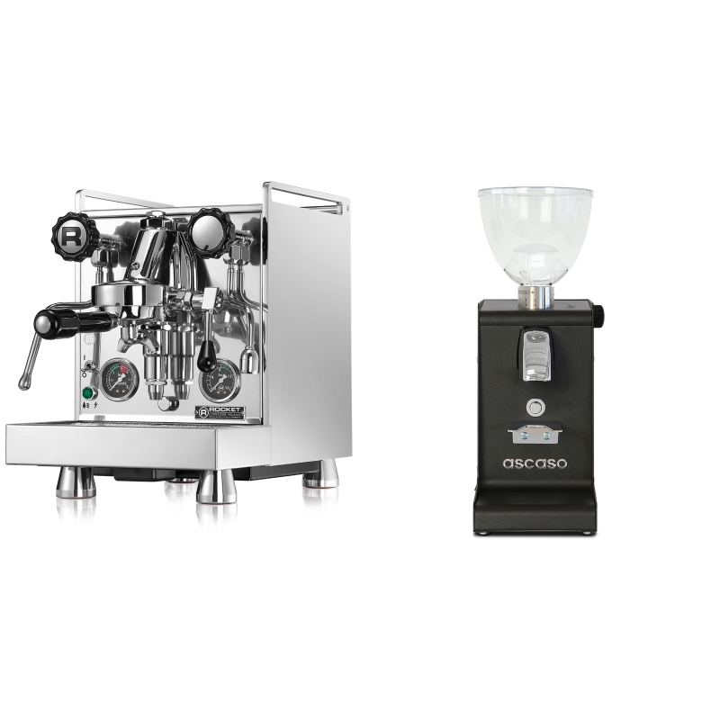 Rocket Espresso Mozzafiato Cronometro R + Ascaso i-steel, černá