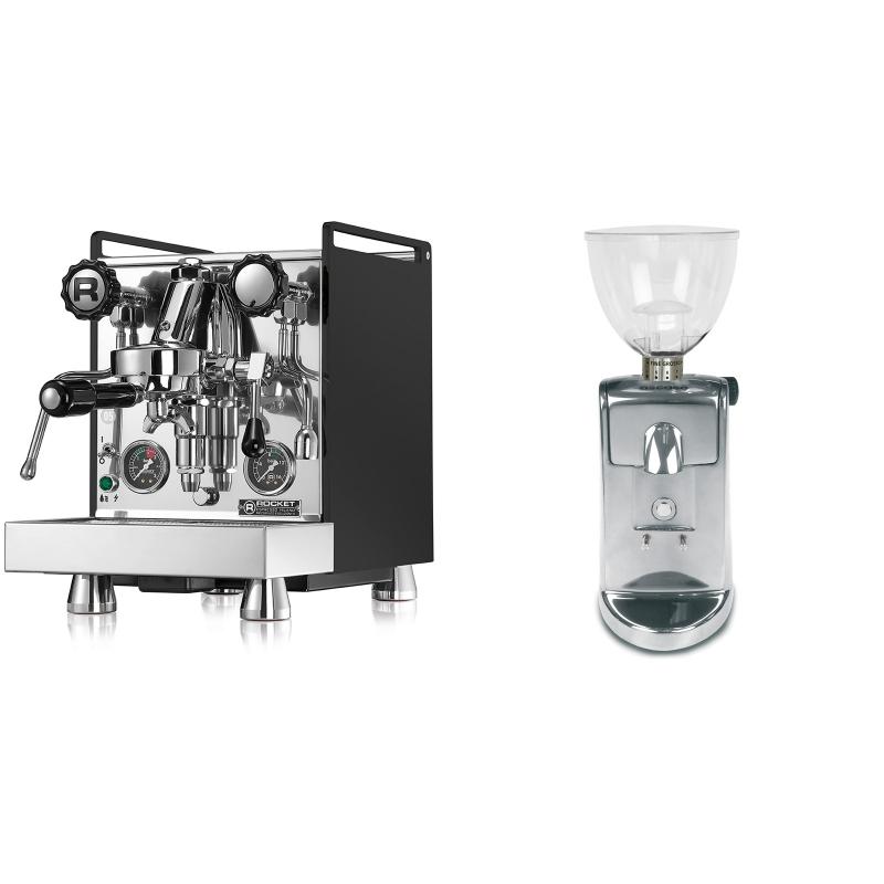 Rocket Espresso Mozzafiato Cronometro R, černá + Ascaso i-mini i1, leštěný hliník