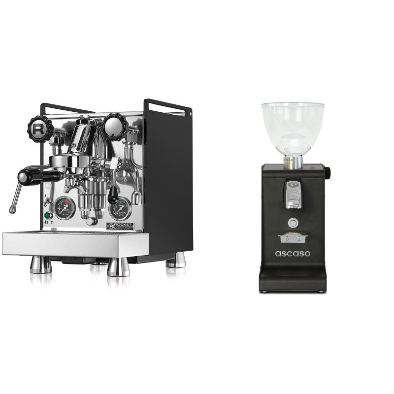 Rocket Espresso Mozzafiato Cronometro R, černá + Ascaso i-steel, černá