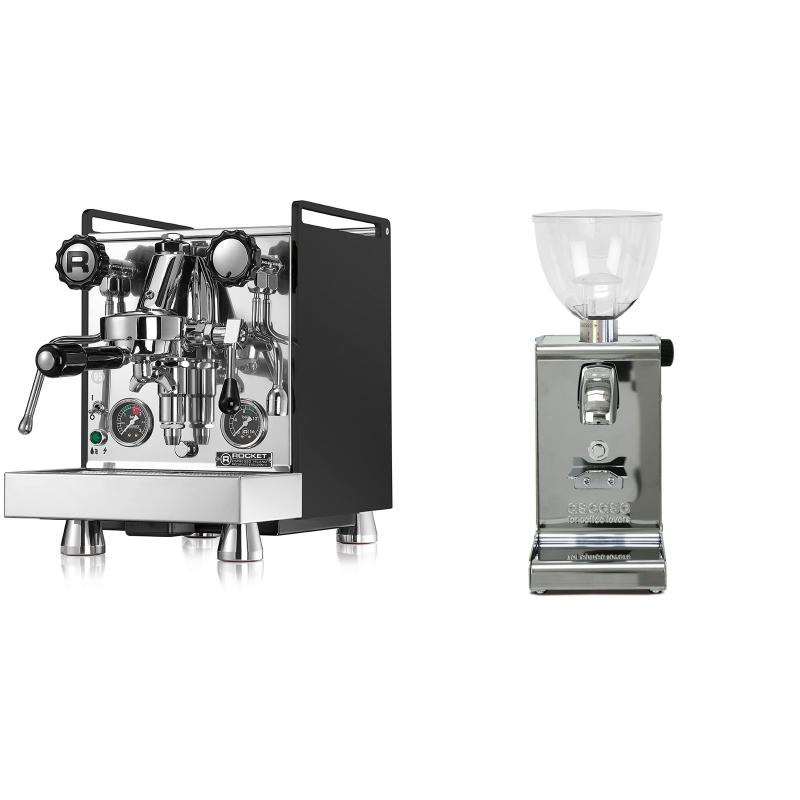 Rocket Espresso Mozzafiato Cronometro R, černá + Ascaso i-steel, lesk