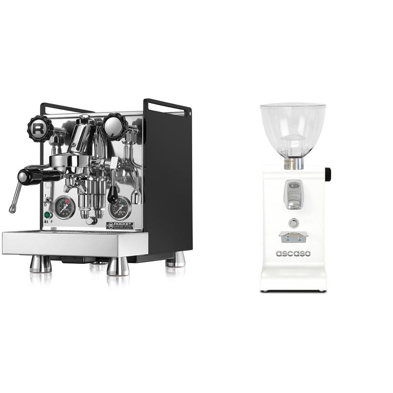 Rocket Espresso Mozzafiato Cronometro R, černá + Ascaso i-steel, bílá