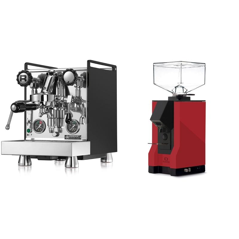 Rocket Espresso Mozzafiato Cronometro R, černá + Eureka Mignon Silenzio, BL ferrari red