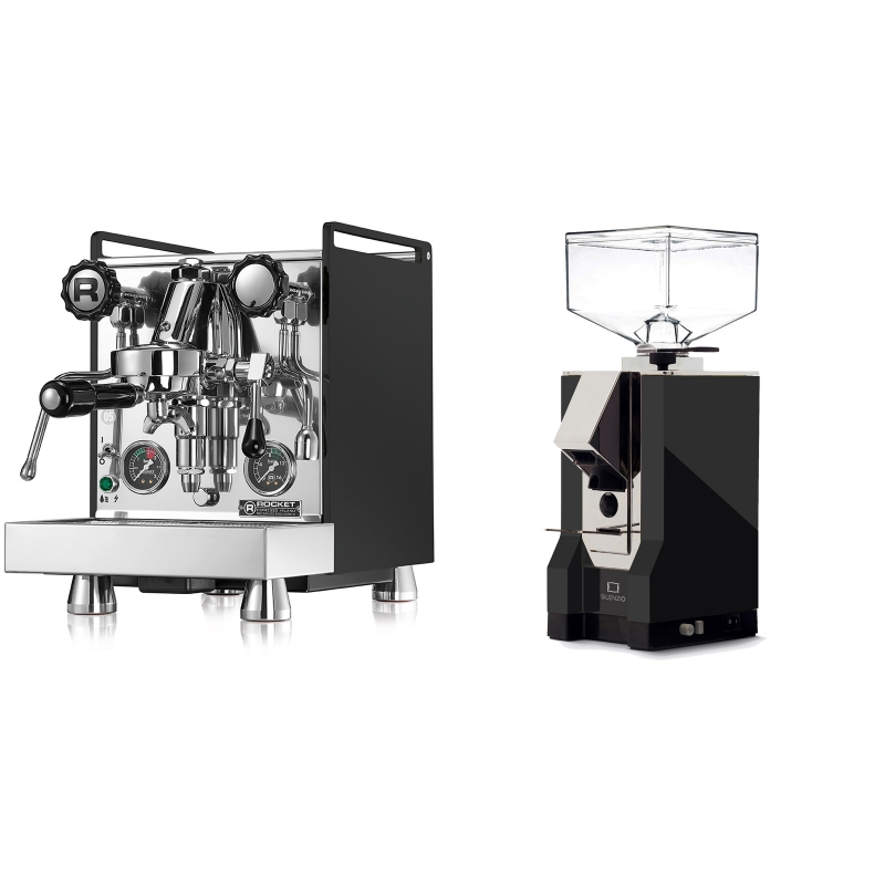 Rocket Espresso Mozzafiato Cronometro R, černá + Eureka Mignon Silenzio, CR black