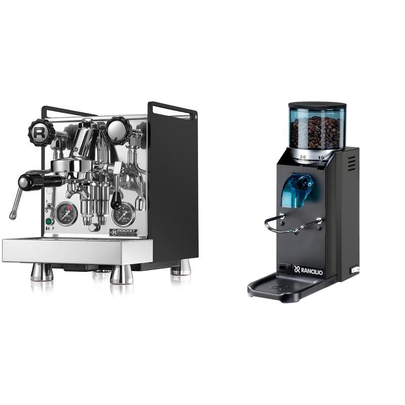 Rocket Espresso Mozzafiato Cronometro R, černá + Rancilio Rocky Doserless, černá