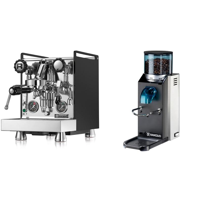 Rocket Espresso Mozzafiato Cronometro R, černá + Rancilio Rocky Doserless