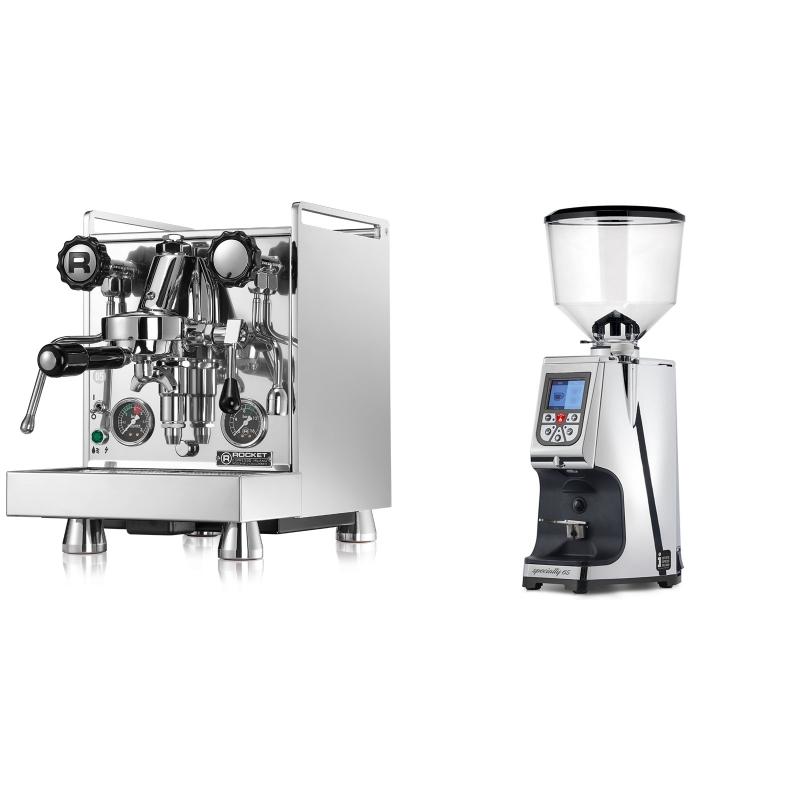 Rocket Espresso Mozzafiato Cronometro R + Eureka Atom Specialty 65, chrome