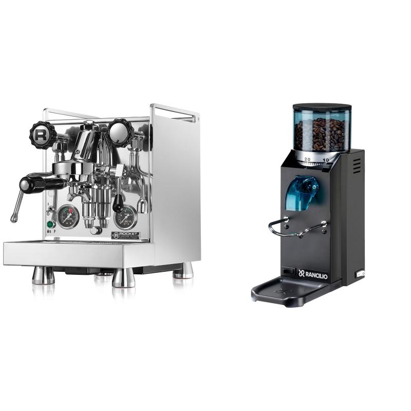 Rocket Espresso Mozzafiato Cronometro R + Rancilio Rocky Doserless, černá