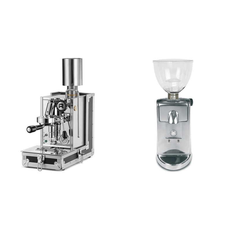Rocket Espresso Porta Via + Ascaso i-mini i1, leštěný hliník