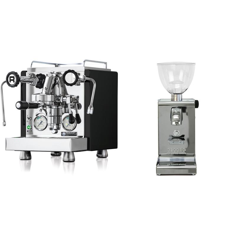Rocket Espresso R 60V, černá + Ascaso i-steel, lesk