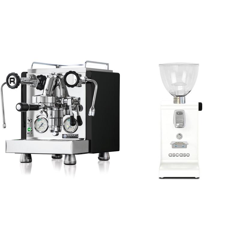 Rocket Espresso R 60V, černá + Ascaso i-steel, bílá