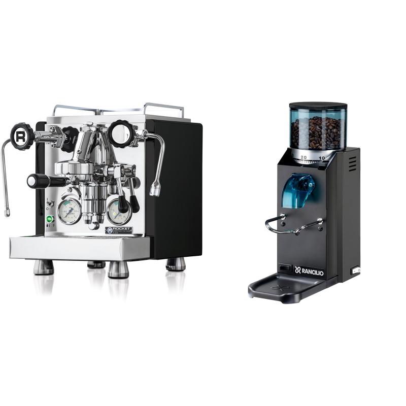 Rocket Espresso R 60V, černá + Rancilio Rocky Doserless, černá
