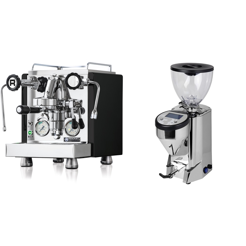 Rocket Espresso R 60V, černá + Rocket Espresso FAUSTO, nerez