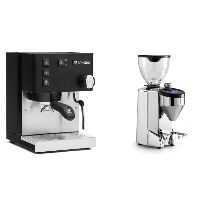 Rancilio Silvia BC, černá + Rocket Espresso FAUSTO 2.1, chrome