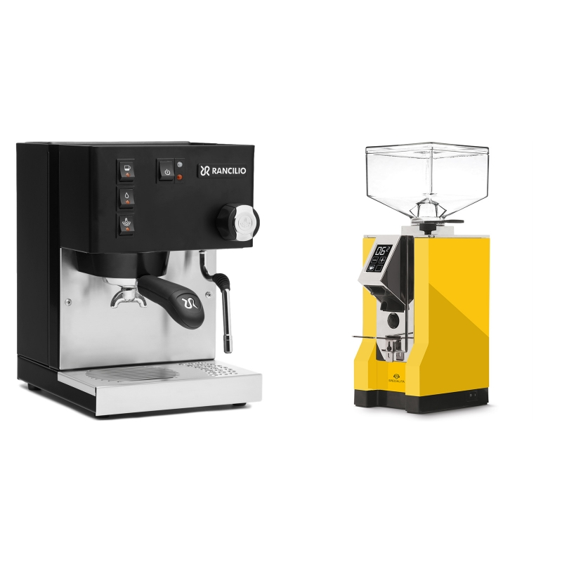 Rancilio Silvia E, černá + Eureka Mignon Specialita, CR yellow