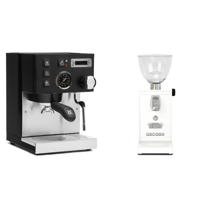 Rancilio Silvia PID Buna café edice, černá + Ascaso i-steel, bílá