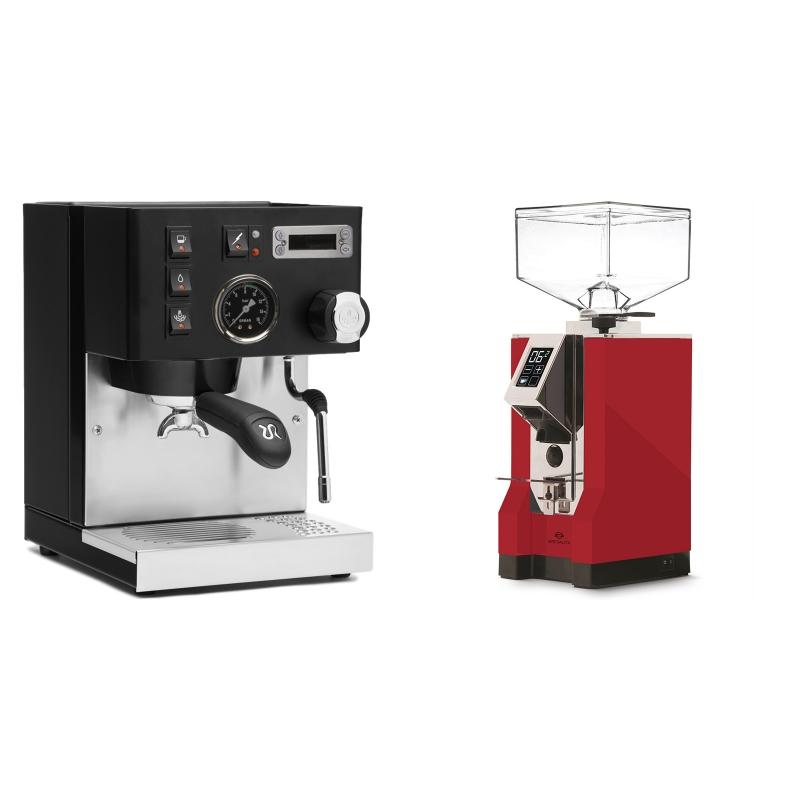 Rancilio Silvia PID Buna café edice, černá + Eureka Mignon Specialita, CR ferrari red