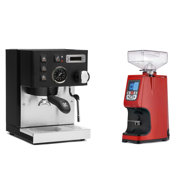 Rancilio Silvia PID Buna café edice, černá + Eureka Atom 60, ferrari red