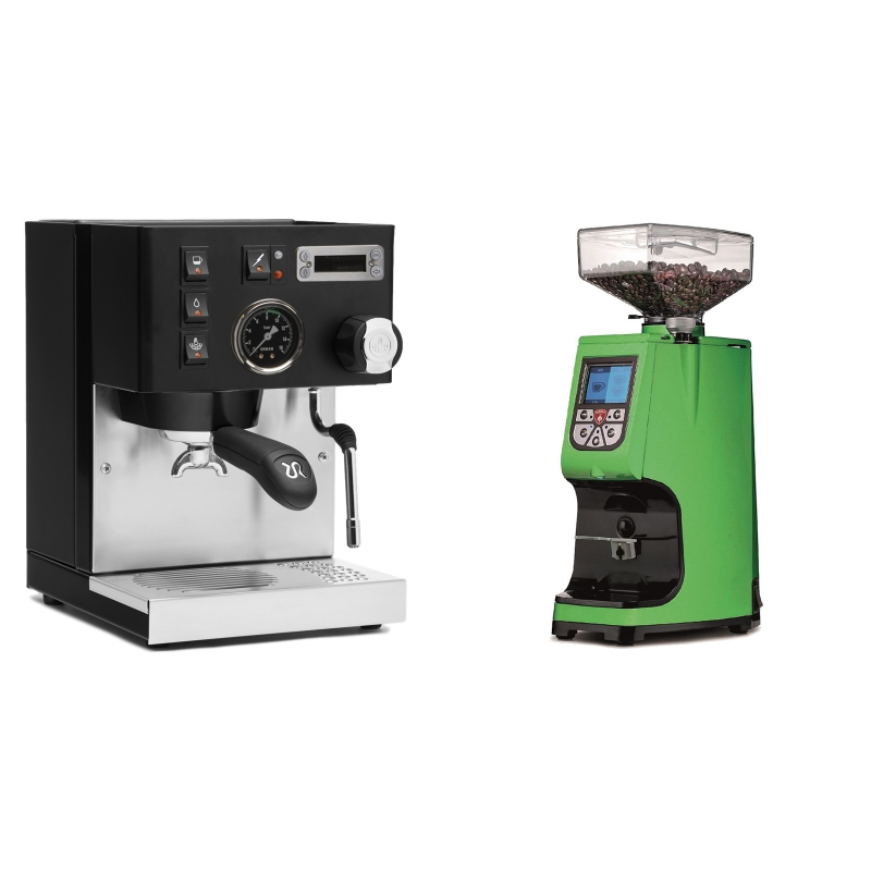 Rancilio Silvia PID Buna café edice, černá + Eureka Atom 60, kawasaki green