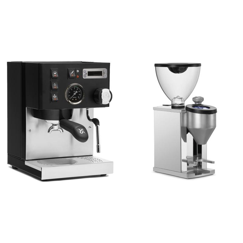 Rancilio Silvia PID Buna café edice, černá + Rocket Espresso FAUSTINO, chrome