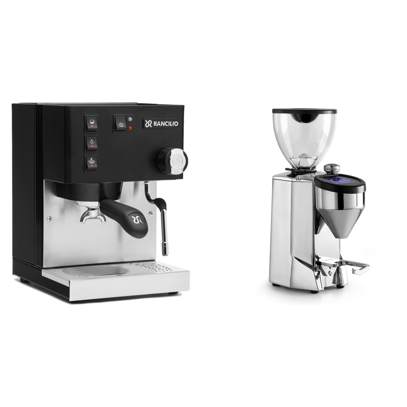 Rancilio Silvia E, černá + Rocket Espresso FAUSTO 2.1, chrome