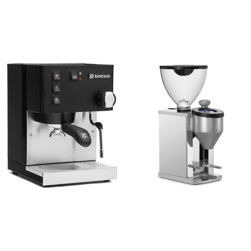 Rancilio Silvia E, černá + Rocket Espresso FAUSTINO, chrome