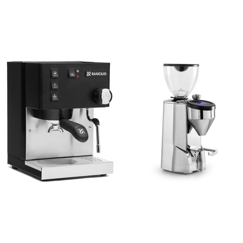 Rancilio Silvia E, černá + Rocket Espresso SUPER FAUSTO, chrome