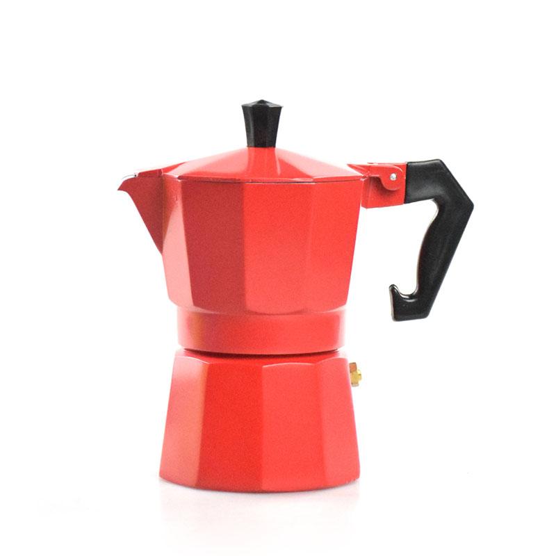 Ecocoffee moka konvička na 3 šálky, červená