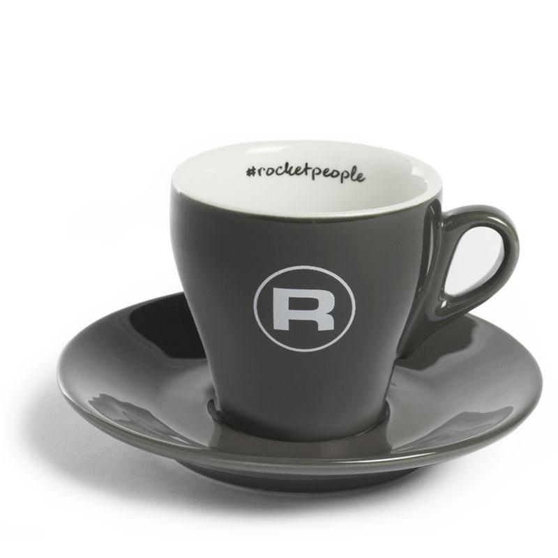 Rocket Espresso šálek s podšálkem #rocketpeople 180 ml, tmavě šedý (set 6 ks)