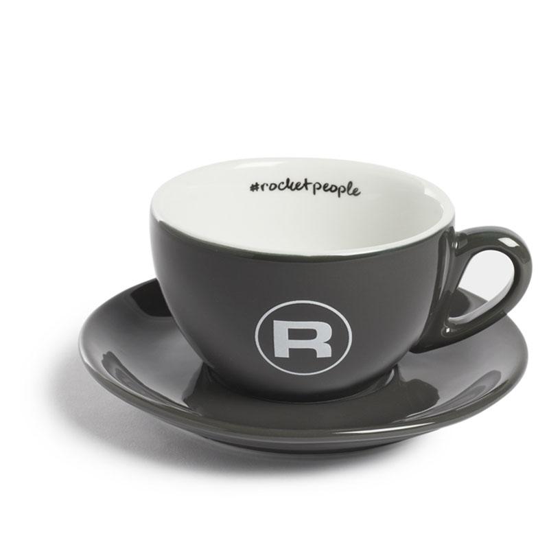 Rocket Espresso šálek s podšálkem #rocketpeople 210 ml, tmavě šedý (set 6 ks)
