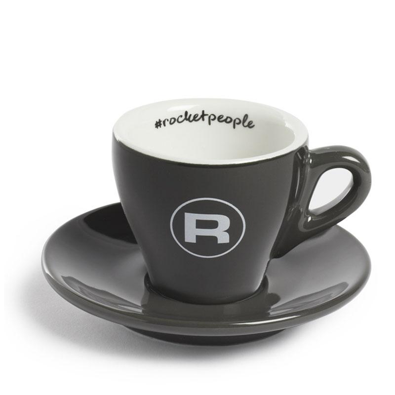 Rocket Espresso šálek s podšálkem #rocketpeople 60 ml, tmavě šedý