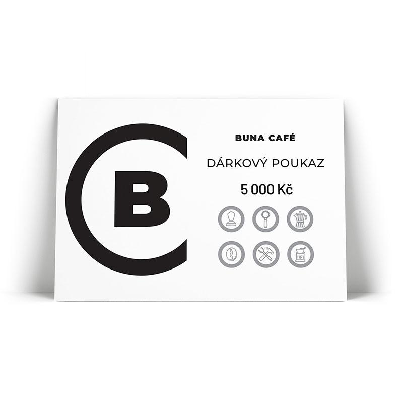 Buna café dárkový poukaz v hodnotě 5 000 Kč / 200 €